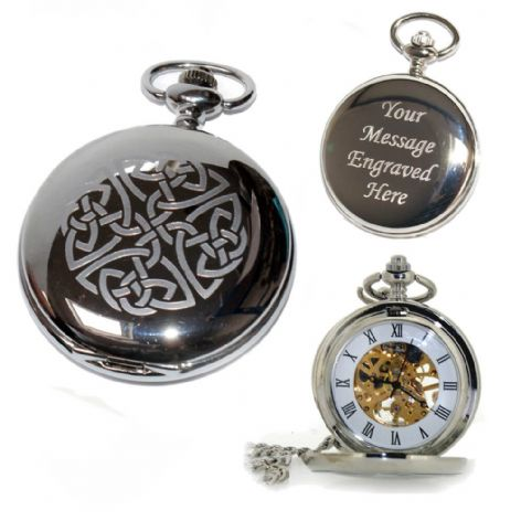Celtic Knot (1) Mechanical Skeleton Pocket Watch